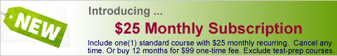 Monthly Subscription at $19.95 per standard course (recurring)